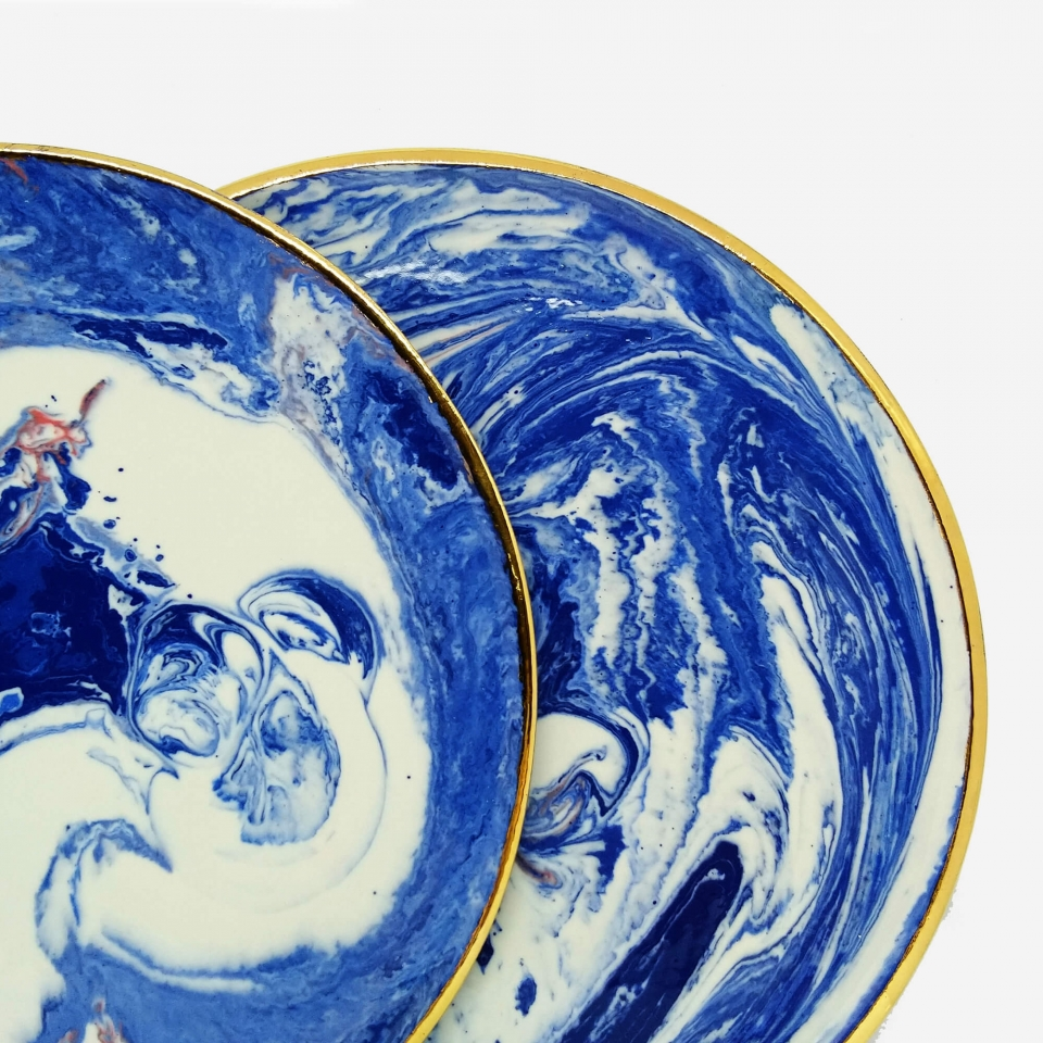 Porcelain plate hand-painted with gold